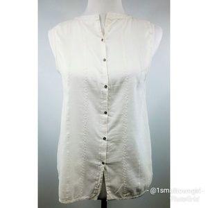 Roxy eyelet white button down blouse M